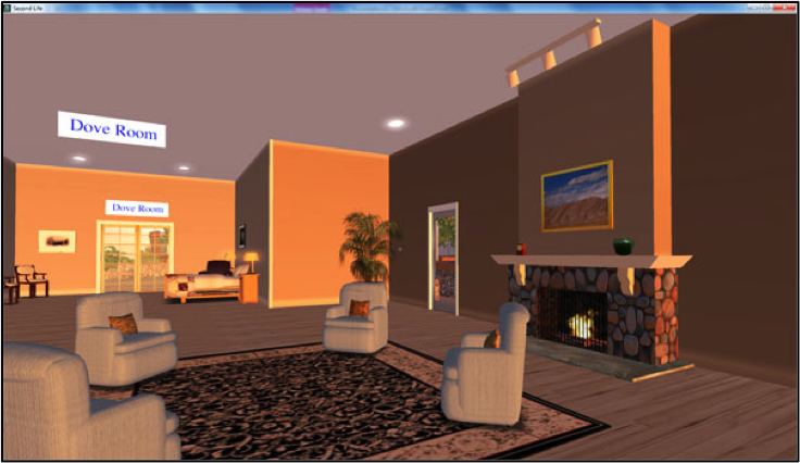 Fig. 3. Screenshot of palliative care unit's common living area in Second Life.