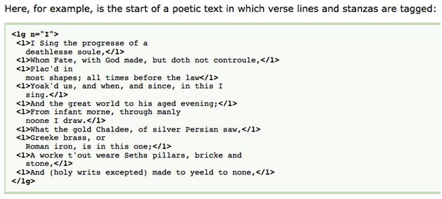 "Figure 1.  A very simple encoding of a poem stanza from Lou Bernard and C. M. Sperberg-McQueen's ""TEI Lite: Encoding for Interchange: An Introduction to the TEI""."