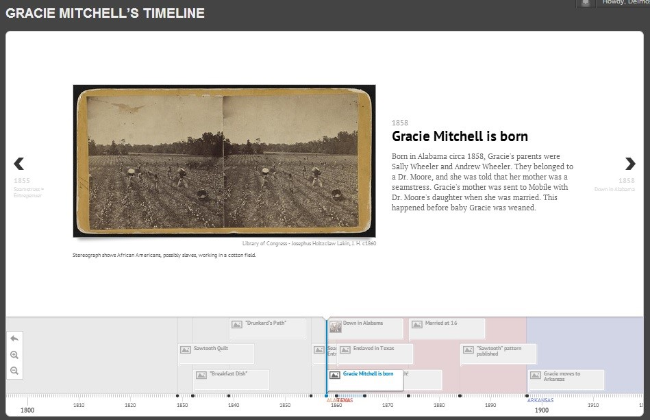 Figure 8: Timeline for Gracie Mitchell