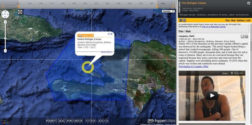 Figure 2. Screenshot from Hypercities class project on Haiti.