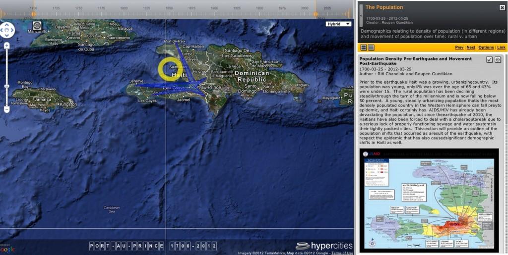 Figure 3. Screenshot from Hypercities class project on Haiti.
