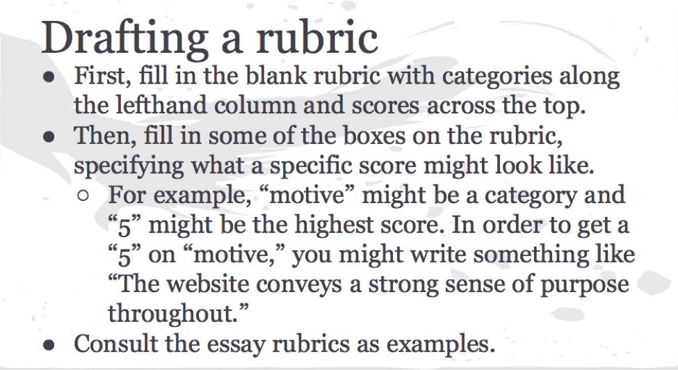 "Figure 3. Drafting a Rubric. •First, fill in the blank rubric with categories along the lefthand column and scores across the top. •Then, fill in some of the boxes on the rubric, specifying what a specific score might look like. o	For example, ""motive"" might be a category and ""5"" might be the highest score. In order to get a ""5"" on ""motive,"" you might write something like ""The website conveys a strong sense of purpose throughout."" •	Consult the essay rubrics as examples."