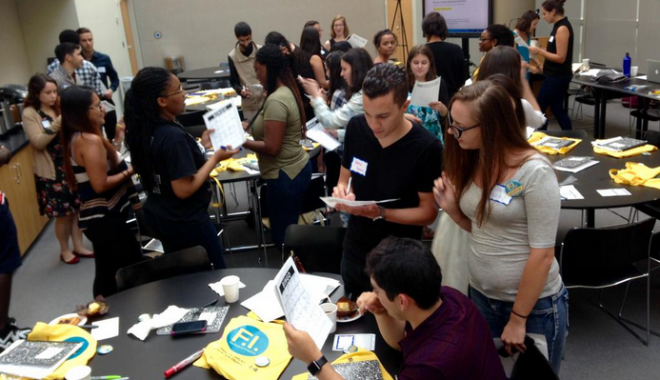 @FuturesED mentors (CUNY undergrads) getting to know one another @GC_CUNY #FuturesED #fight4edu. Image courtesy of Twitter User Danica Savonick @DanicaSavonick.