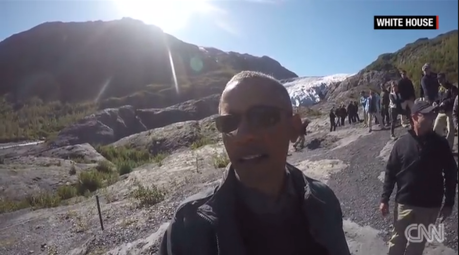 President Obama takes a 'Selfie' video with a glacier. Courtesy of CNN.com