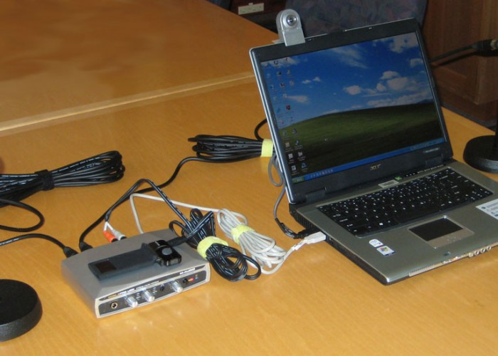 """Resource Development Kits for the ANT Project (1)"" by Stephan Ridgway from Sydney, Australia - M-Audio MobilePre USB mixer and micsUploaded by shoulder-synth. Licensed under CC BY 2.0 via Wikimedia Commons."