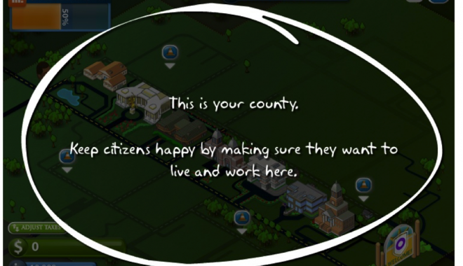 The interface of the Counties Work game makes it clear what issues are handled by local governments.This image is a screen shot form the game.