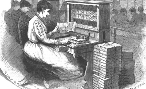 This is a drawing of a woman sitting in front of an old electrical counting machine. Courtesy of programminghistorian.org