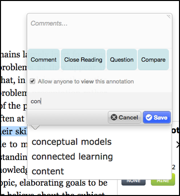 "The screenshot shows an annotation box that pops up when a user highlights a passage. The user is tagging the annotation with a tag that begins with the letters ""con"", and Lacuna suggests ""conceptual models,"" ""connected learning,"" and ""content"" as possible tags to select from."