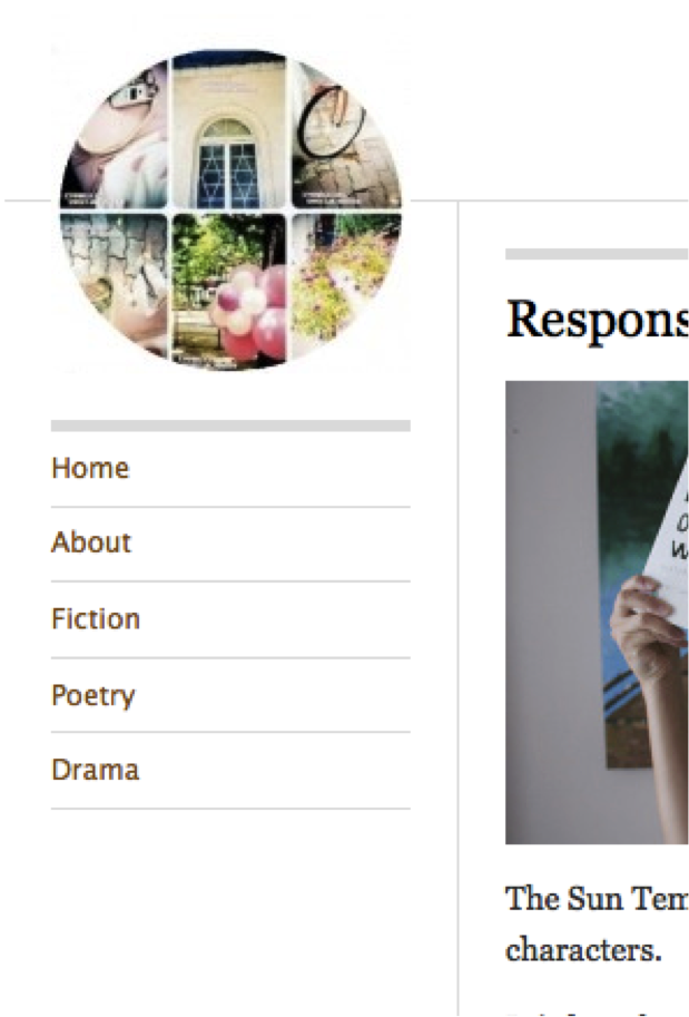 Figure 3: Example of top level navigation menu in a student blog which is divided into Fiction, Poetry, and Drama