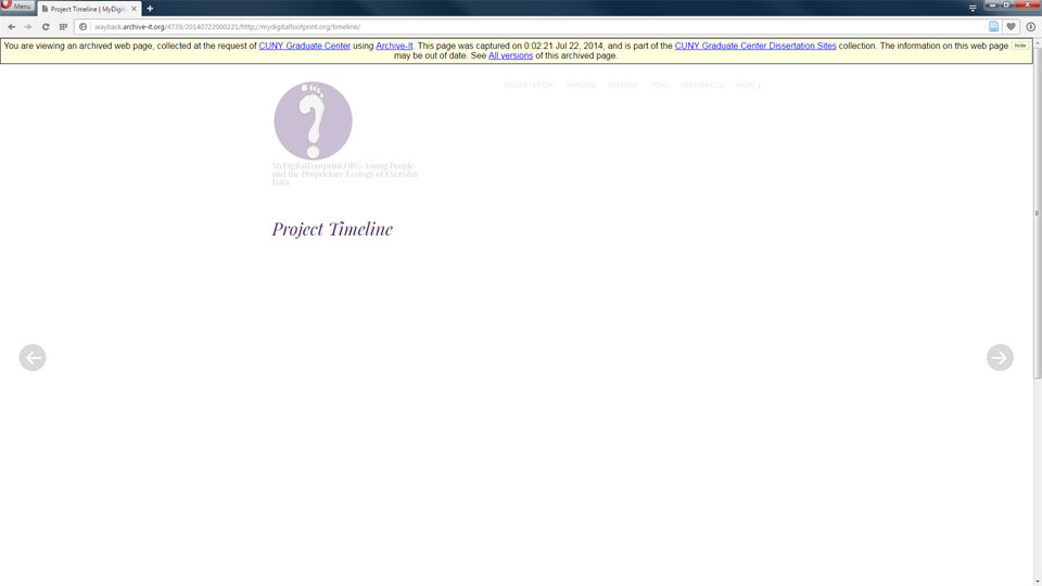 This is a screenshot of the archived site with missing timeline.