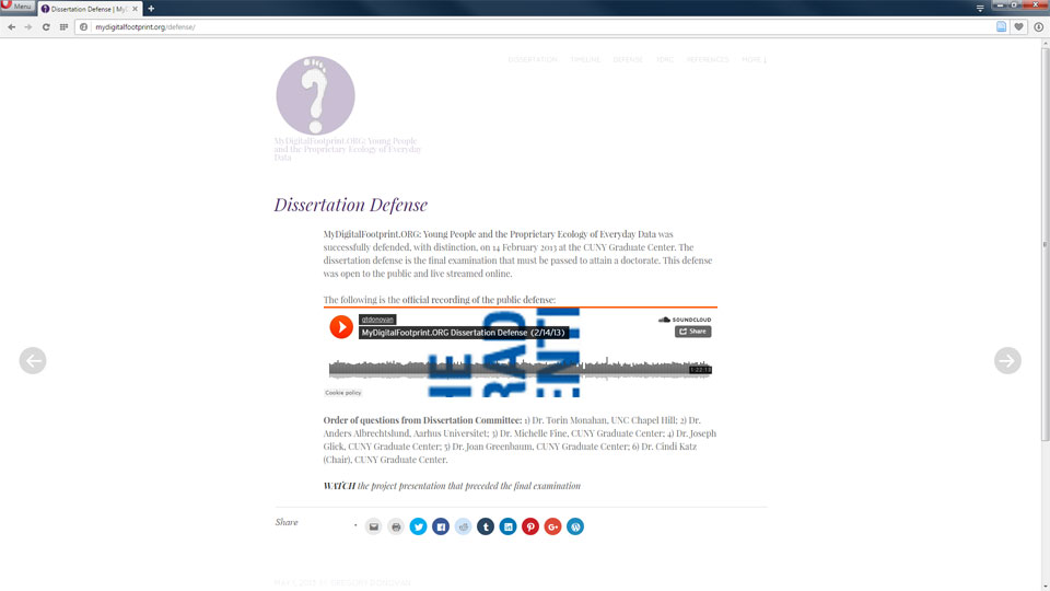 This is a screenshot of the original site with embedded SoundCloud recording