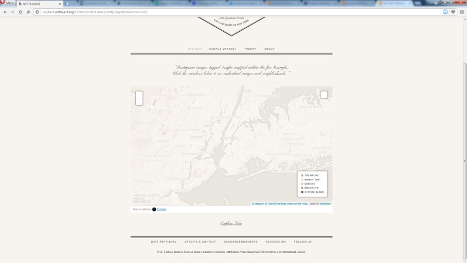 Screenshot demonstrating that Map Interactivity interactivity is lost in the archived version of the site.