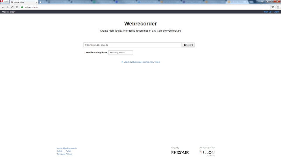 Screenshot showing that The user merely needs to enter a URL and click <Record> to load and record a desired website.