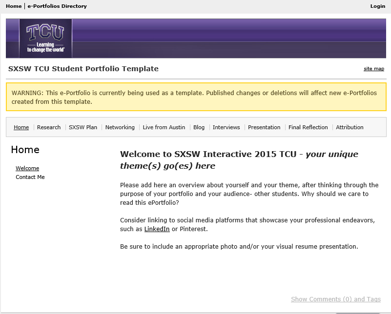 SXSW INTERACTIVE TCU: Template Portfolio for Students showing prompts for the homepage.