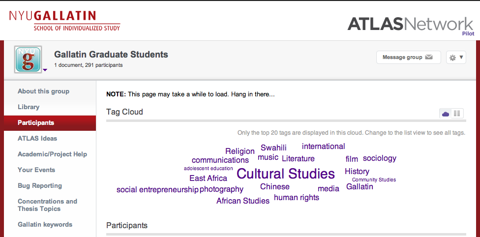 Screenshot of Atlas tag cloud for Gallatin MA students, showing the top 20 tags, with Cultural Studies heavily weighted in the center.