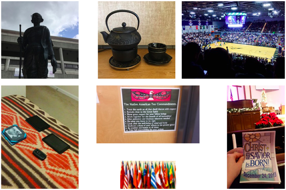 "Collage of figures 2-8: Fig. 2 – Statue of Ghandi on the UNF campus. Fig. 3 – Modern technology lies on a bed including cell phones and electronic tablets. Fig. 4 – Black ceramic Japanese tea set. Fig. 5 – Hand holding a pamphlet with a church setting in the background. Pamphlet says ""Christ the Savior is Born!"". Fig. 6 – College basketball game. Fig. 7 – A dozen or more international flags. Fig. 8 – List of the Native American 10 Commandments."