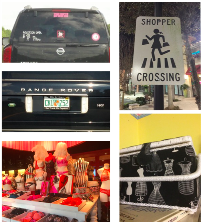 "Collage of figures 9-13: Fig. 9 – License plate holder on a Range Rover that says ""His & Hers, Her Truck, His Payment"". Fig. 10 – A car with a bumper sticker with illustrated stick figure family stickers. An arrow points to the position traditionally reserved for the father and reads ""position open"". Fig. 11 – Storefront lingerie display. Fig. 12 – Sign that reads 'shopper crossing' depicting a girl with pigtails crossing the street. Fig. 13 – Sewing box with women's mannequins printed on it."