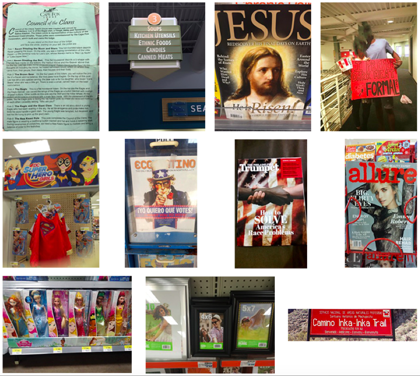 """Collage pf figures 14-24: Fig. 14 – Trail sign for the Inka Trail in Spanish. Fig. 15 – Paper with """"Cape Fox Lodge"""" heading describing the """"Council of the Clans"""". Fig. 16 – Grocery store sign showing the aisle selling """"ethnic foods"""". Fig. 17 – Religious magazine with an image of Jesus on the cover. Fig. 18 – Couple holds a KFC bucket and a sign reading """"I prefer dark meat – formal?"""". Fig. 19 – Photo frames from a store; all the models in the images in the frames are white. Fig. 20 – Store display for children's super hero costumes depicts only white super heros. Fig. 21 – Store display for Barbie dolls displays mostly dolls that appear to be white. Fig. 22 – Magazine cover depicting Uncle Sam saying """"Yo quiero que votes"""" or """"I want you to vote"""" in Spanish. Fig. 23 – Magazine cover featuring the arms of people from two """"races"""" interlocked. The featured title is """"How to Solve America's Race Problems"""". Fig. 24 – """"Alure"""" magazine cover featuring a thin, white model."""