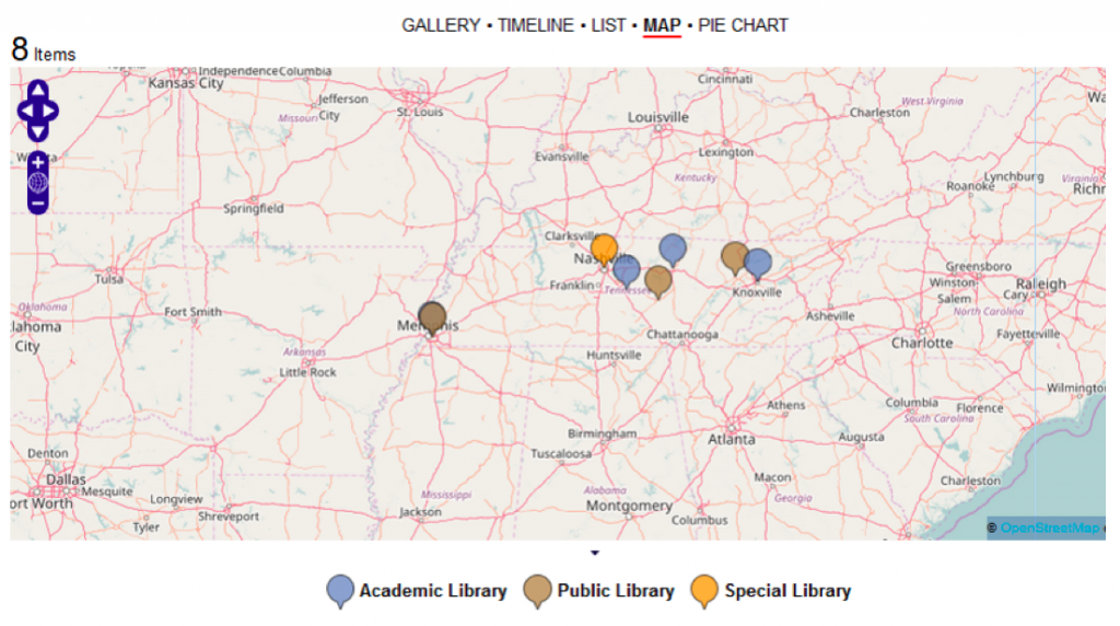 "Figure 7a depicts a map view of the homepage ""Libraries in Tennessee"""