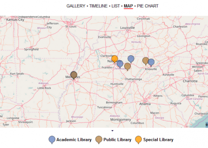 "Figure 7a depicts a map view of the homepage ""Libraries in Tennessee"