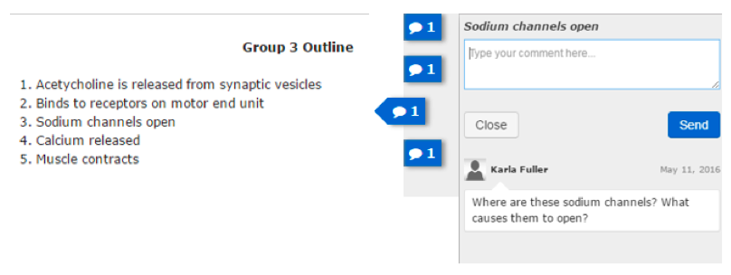 Figure 1 depicts a group outline in Digication ePortfolio. Instructor's post-assessment feedback (a question about clarifying certain steps in a process) is in the right margin.