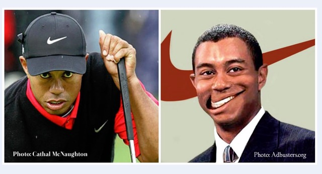 A photograph of Tiger Woods the golfer in his Nike branded cap and top on the left. On the right, a photoshopped photograph of Tiger Woods in a suit with the Nike 'swoosh' Logo behind him that looks as if it is going through his head, and his smile has been photoshopped into the Nike 'swoosh' logo.