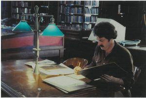 The author in 1980 doing research for an educational television project on NYC history at the Columbia Univ. library. (Picture credit: Julie List)