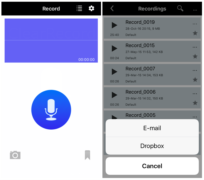 This is a screenshot of The ClearRecord app interface and a list of recordings.