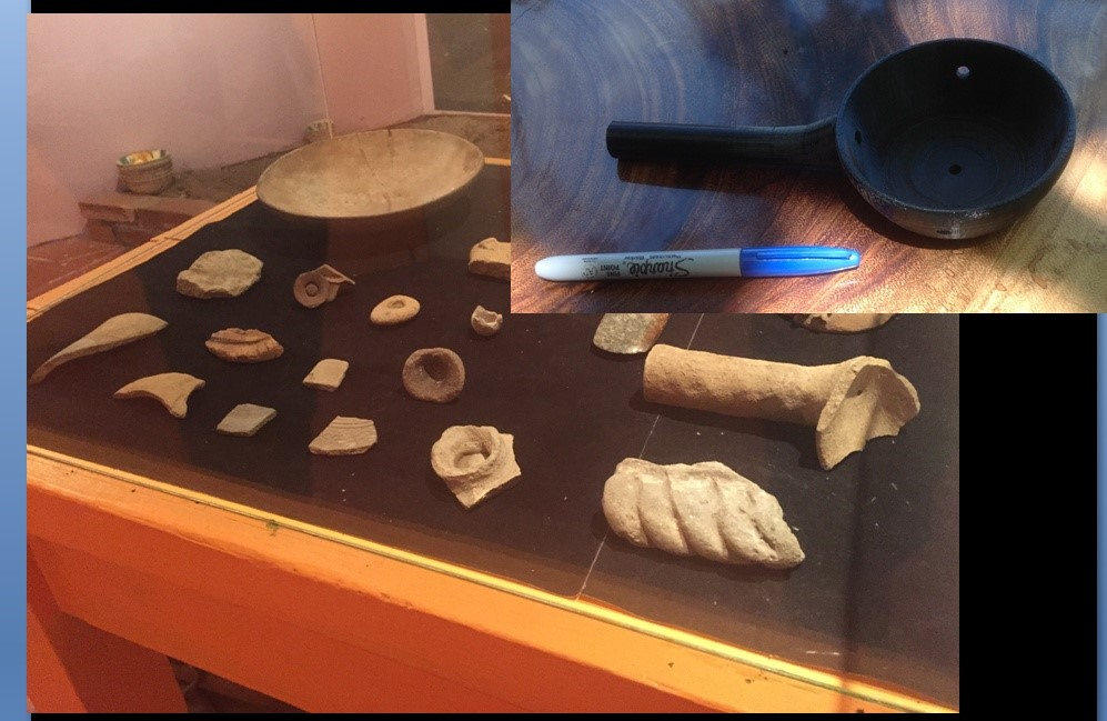 Fig. 13 – Photograph of a display case with a glass top, and ceramic fragments inside. Inset with second image, a plastic vessel similar to one of the ones seen inside the case.