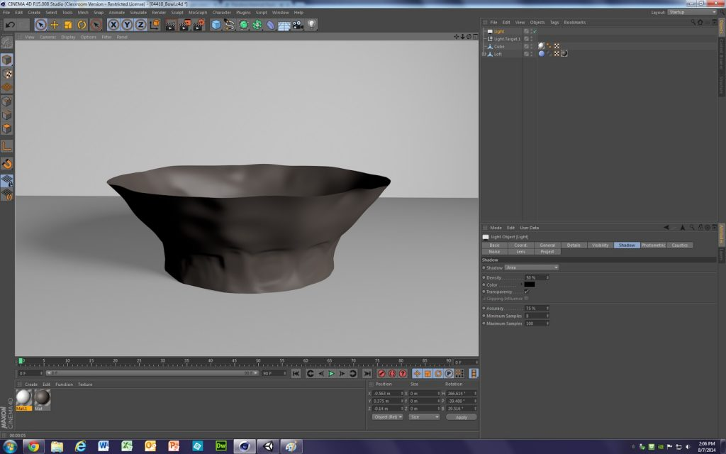 Fig. 4 – Screengrab showing the Maxon Cinema4D software program with a bowl modeled in the active window.