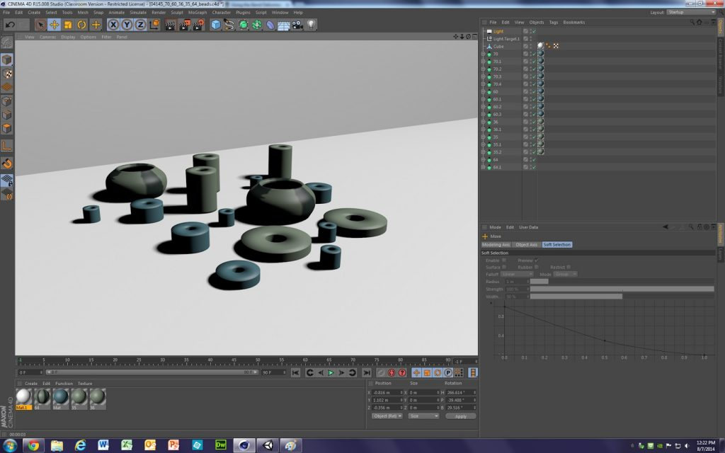 Fig. 5 – Screengrab showing the Maxon Cinema4D software program with a stone beads modeled in the active window.