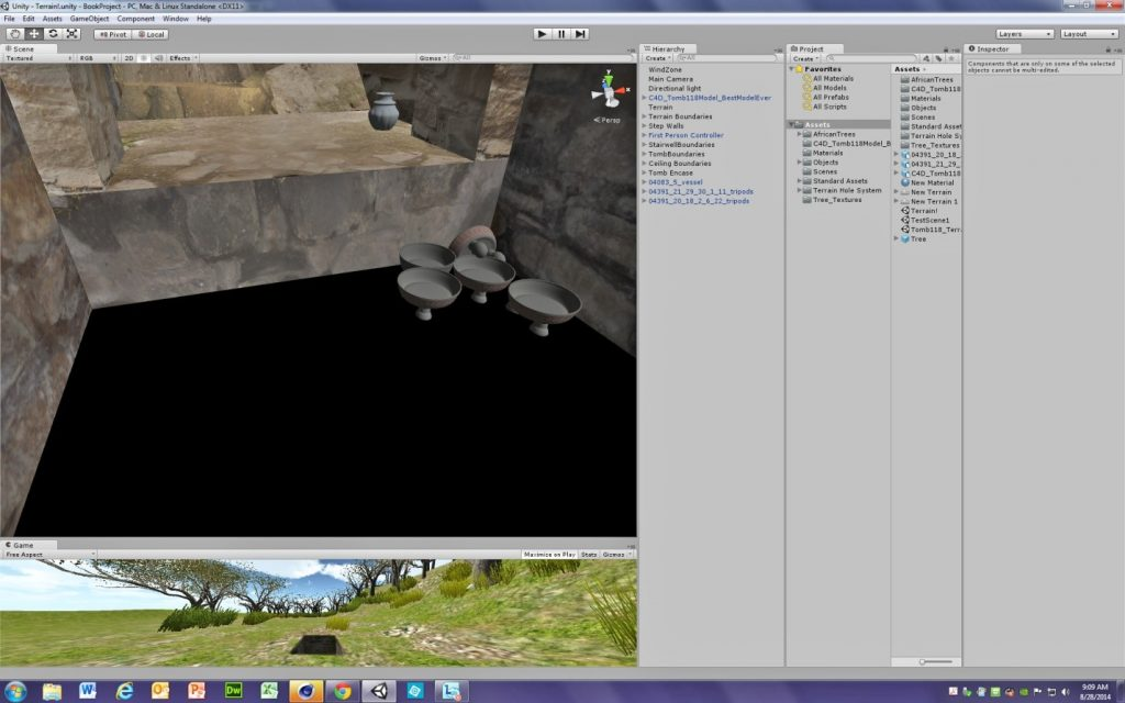 Fig. 6 – Screengrab showing the Unity game engine, with several panes open – at the top, the interior of a structure, with several vessels visible.