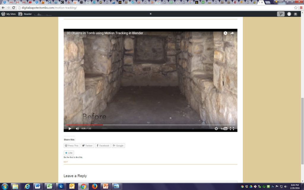 """Fig. 9 – Screenshot of a video, marked """"Before"""" at lower left, and showing an empty stone chamber."""