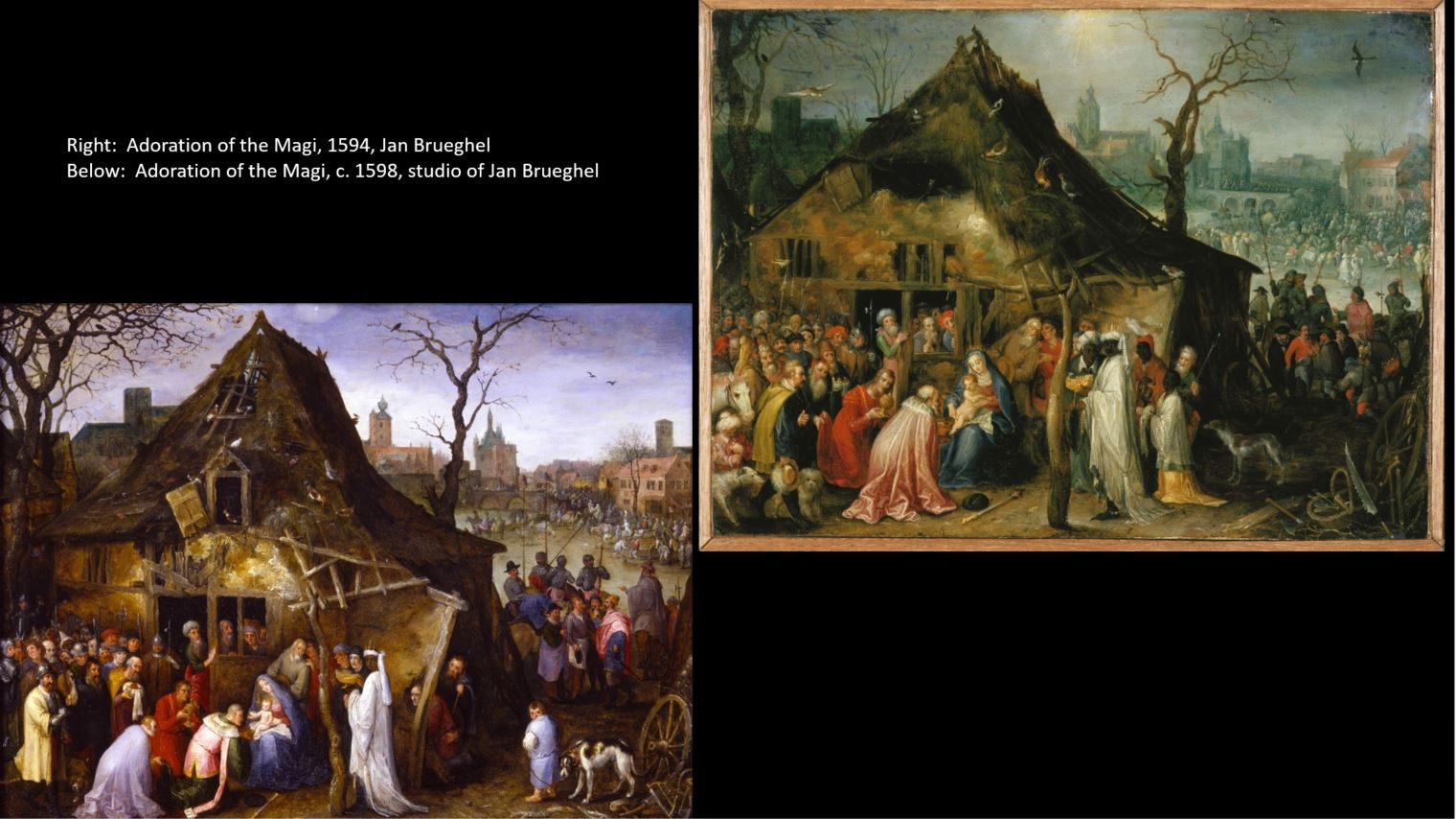Two very similar paintings by Jan Brueghel or his studio, showing the Adoration of the Magi.