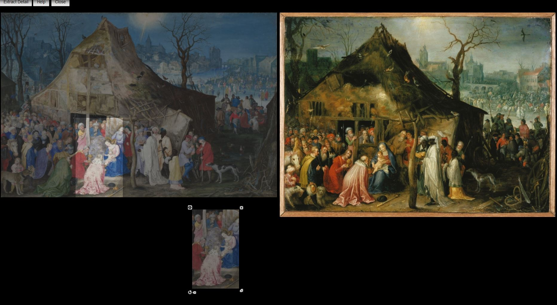 Illustration of the Image Investigation Tool, showing two paintings by Jan Brueghel with a detail cropped from one and made into a transparency.