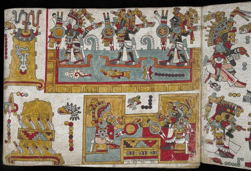 Single folio from Codex Zouche-Nuttall showing Lord 8 Deer Jaguar Claw