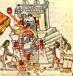 Cropped image of Aztec Heart Sacrifice on temple platform from sixteenth-century Codex Magliabechiano 70r