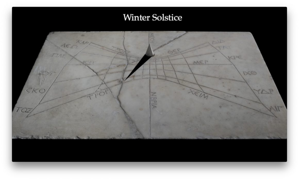 Rendering of shadow on the Pompeii Horizontal Sundial at three Roman hours after midday on the winter solstice. The shadow is cast towards the lower left part of the sundial.