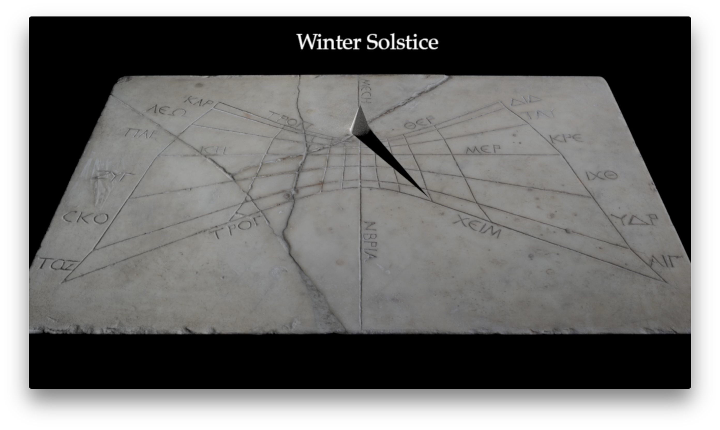 Rendering of shadow on the Pompeii Horizontal Sundial at three Roman hours before midday on the winter solstice, the shortest day of the year when the sun is low and shadows are long. The shadow is cast towards the lower right part of the sundial.