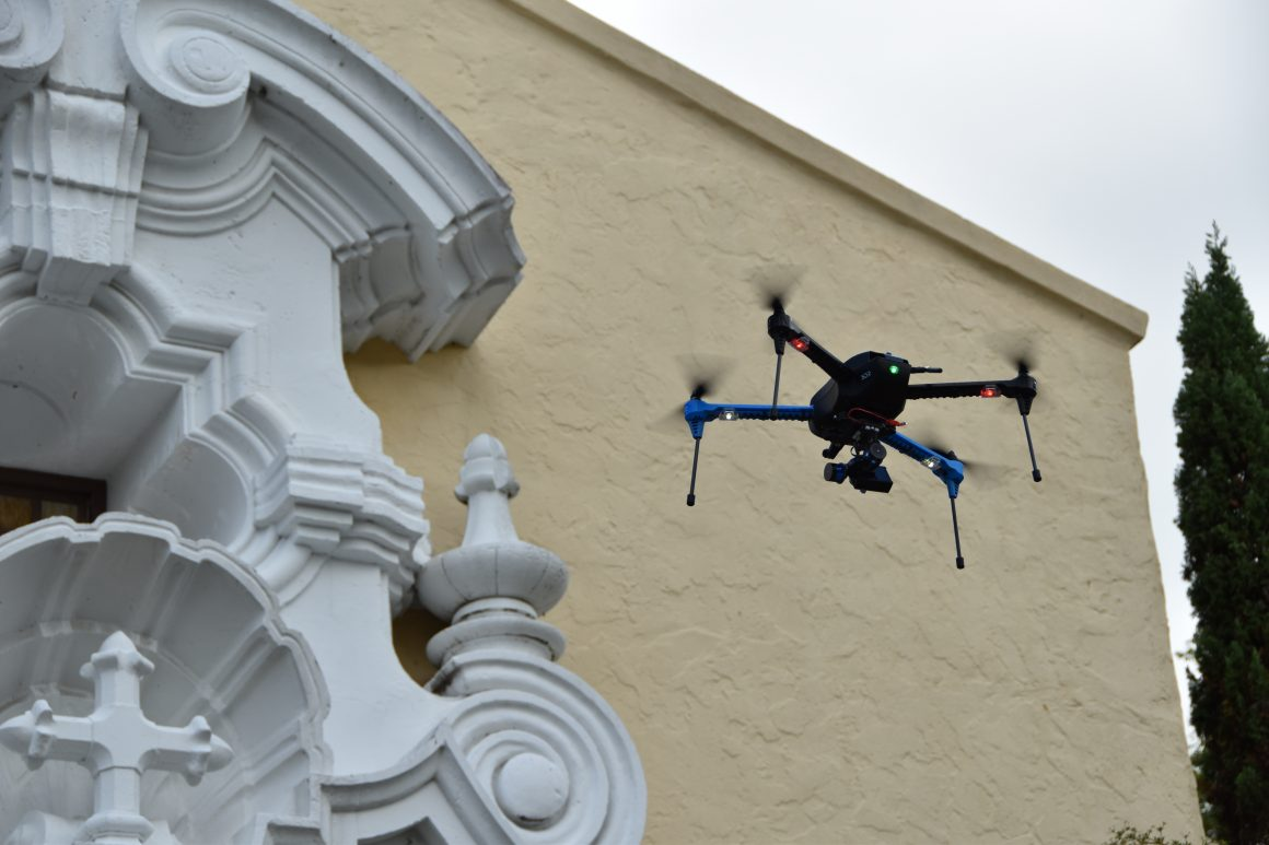 The use of drones (like the one pictured here) to take thousands of photographs of architectural structures provides a quick and inexpensive means of capturing photographic data to make point clouds.
