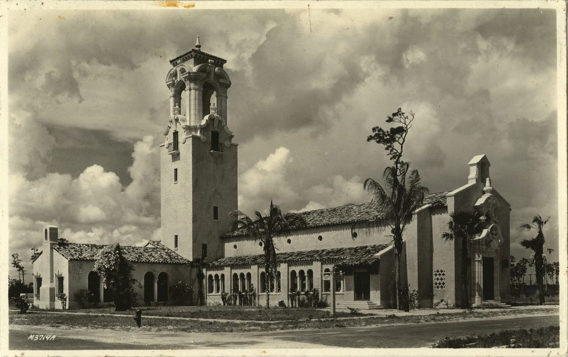 This image depicts the Congregation Church in Coral Gables soon after the completion of construction in 1925.