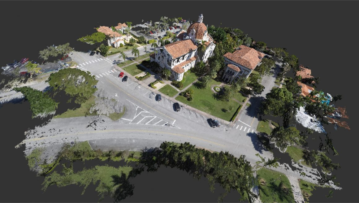 This point cloud of the Church of the Little Flower consists of an aerial view of the sanctuary and the adjacent meeting hall.