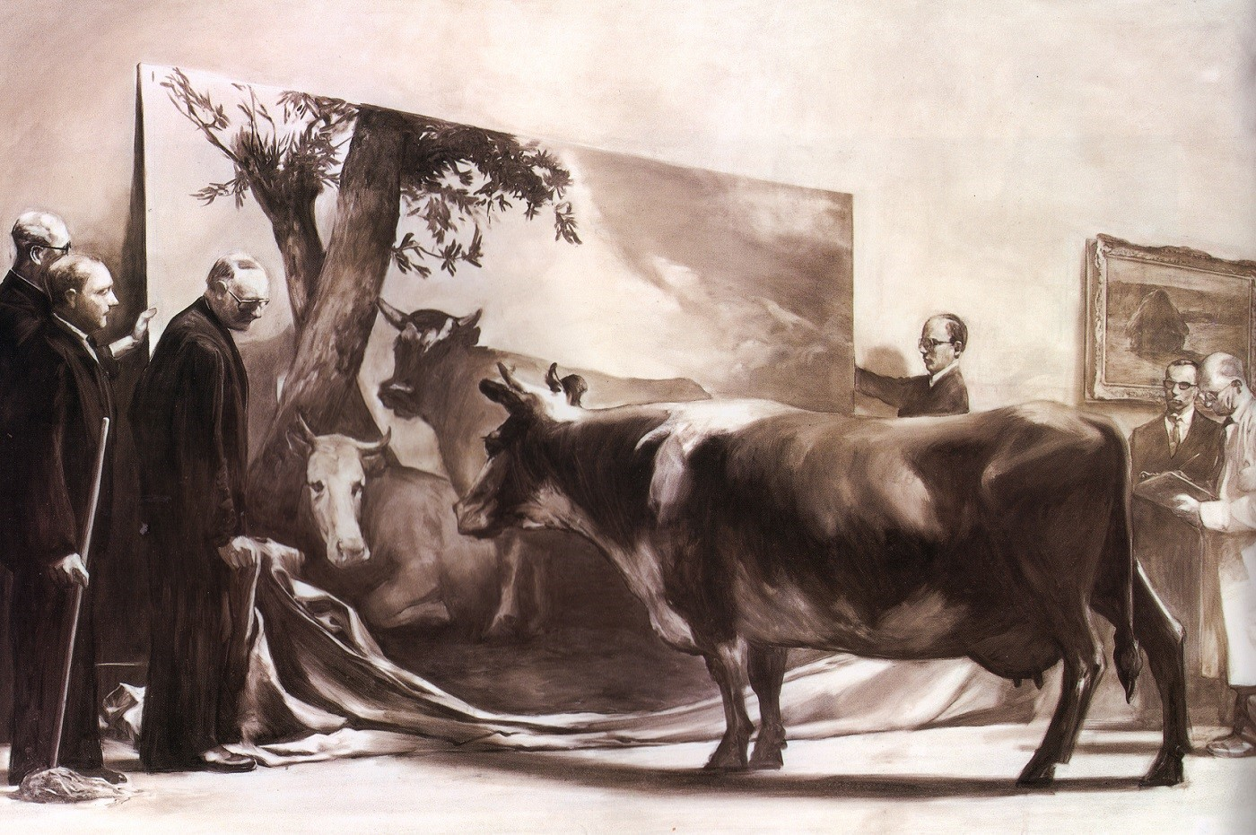 The painting, The Innocent Eye Test, by Mark Tansey which shows a cow being shown a painting of other cows by a group of men