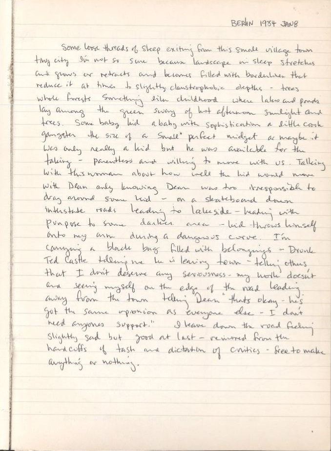 A scanned journal page from David Wojnarowicz's notebooks which are held at Fales Library and Special Collections in the David Wojnarowicz Papers.