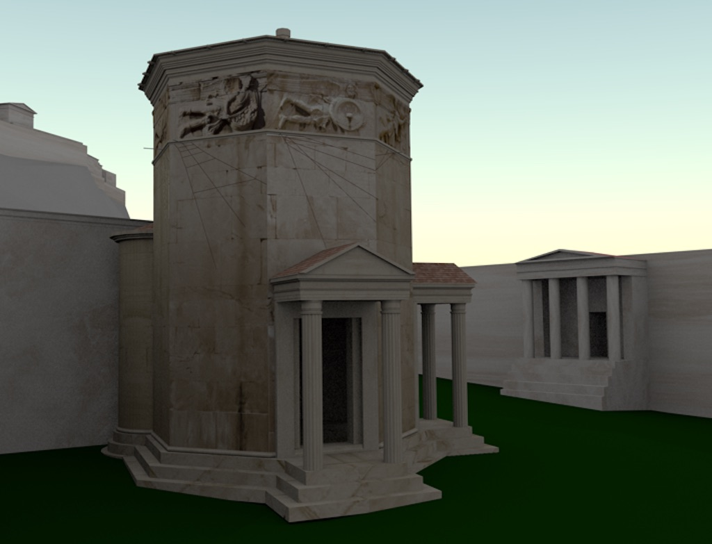 Computer rendering of the model of the Tower of the Winds, situated in a model of Athens. To the right the Roman Agora in Athens is visible (situated west of the tower). To the left is one wall of the so-called Agoranomion and beyond it the Acropolis of Athens (located south of the tower).