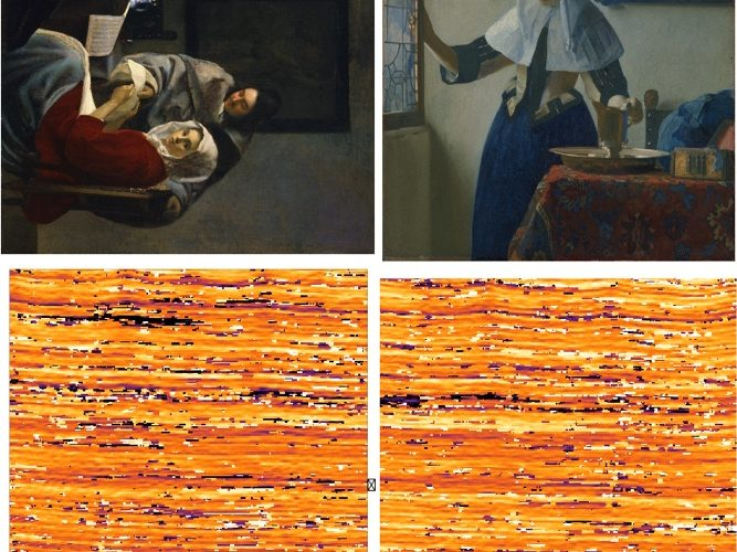 Figure 6 shows two paintings by Vermeer and their weave maps: The Girl Interrupted at Her Music from the Frick Collection and Young Woman with a Water Pitcher from the Metropolitan Museum of Art. The weave maps show that these two paintings were made from the same bolt of fabric.
