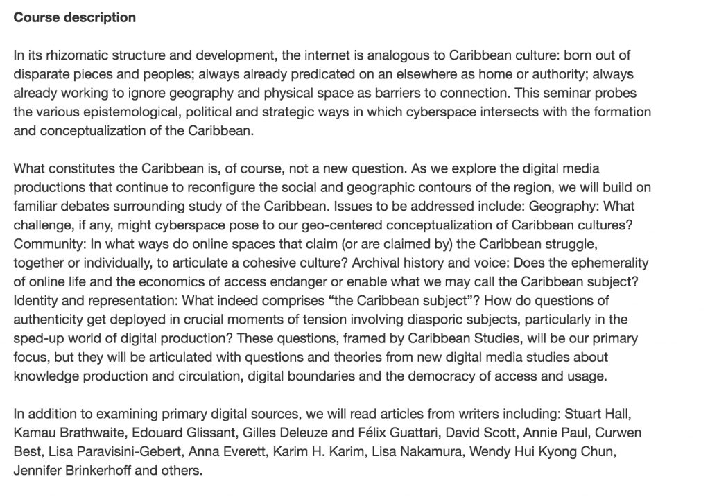 Text of course description for Digital Caribbean course