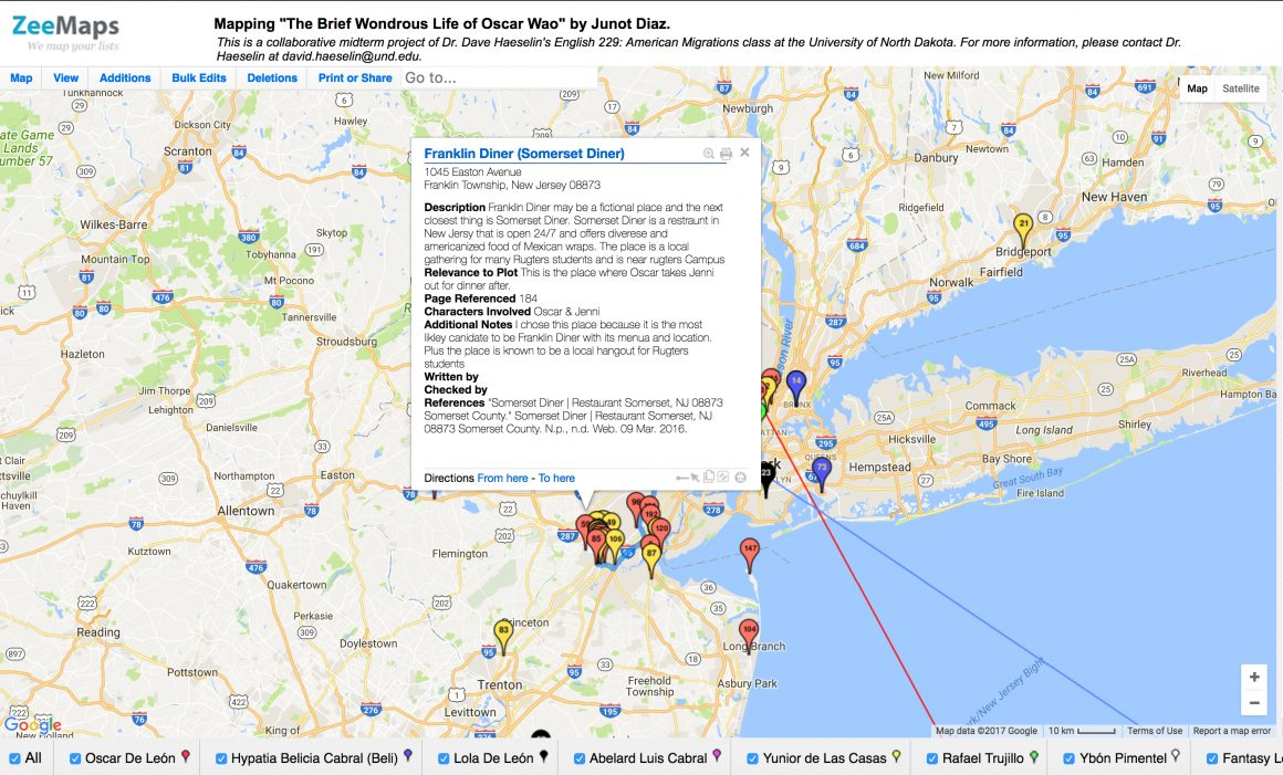 A representative student location entry laid over an image of a Google map of the Northeast United States. The student entry includes a description of the location, its relevance to the plot, the page the reference appears, the characters involved, and additional notes.