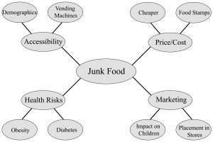 Sample concept map of 'junk food' and its related issues, complete with details and examples of each.