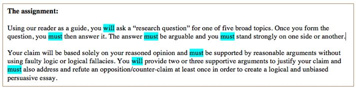 "In five sentences of the assignment section, the imperative ""must"" appeared 5 times and ""will"" 3 times."